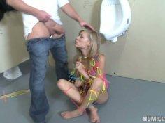 Security officer fucking freak teen slut Nicole Ray in a men's public toilet