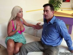 Doll looking whore Bridgette B seduces the guy to fuck by sucking his cock deepthroat