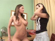 Two seductive teen brunettes Ava and  Aurora A playing soft