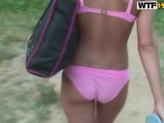 Hot Jennifer taking a walk with her friend in her underwear only