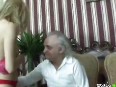 Handicapped old man fucks young blonde teen