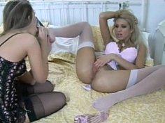 Long legged lesbians in classic lingerie. Feet fetish