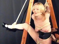 Amateur blonde Weekays dungeon bondage and sexual