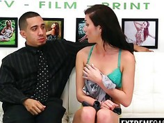 Brunette tene slut Rene Roulette fucked and facialized