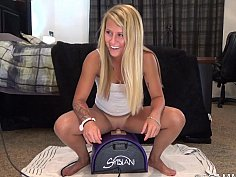 Girlfriends ride the Sybian together