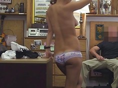 Lovely horny waitress getting her pussy drilled