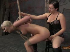 Short haired blondie Cherry Torn gets tied up and drilled with a dildo