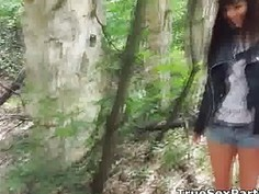 Amateur foursome party in the forest