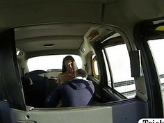 Perky tits amateur passenger pussy railed by the driver