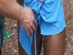 African slave gets banged by white cock outdoors