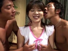 Buxom giggling brunette enjoys getting her fancy tickled by two dudes