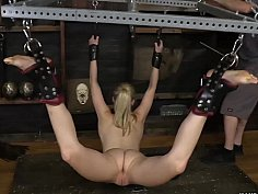 Pale blonde teen suspended and humiliated