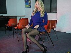 Upskirt in stockings. Teaser